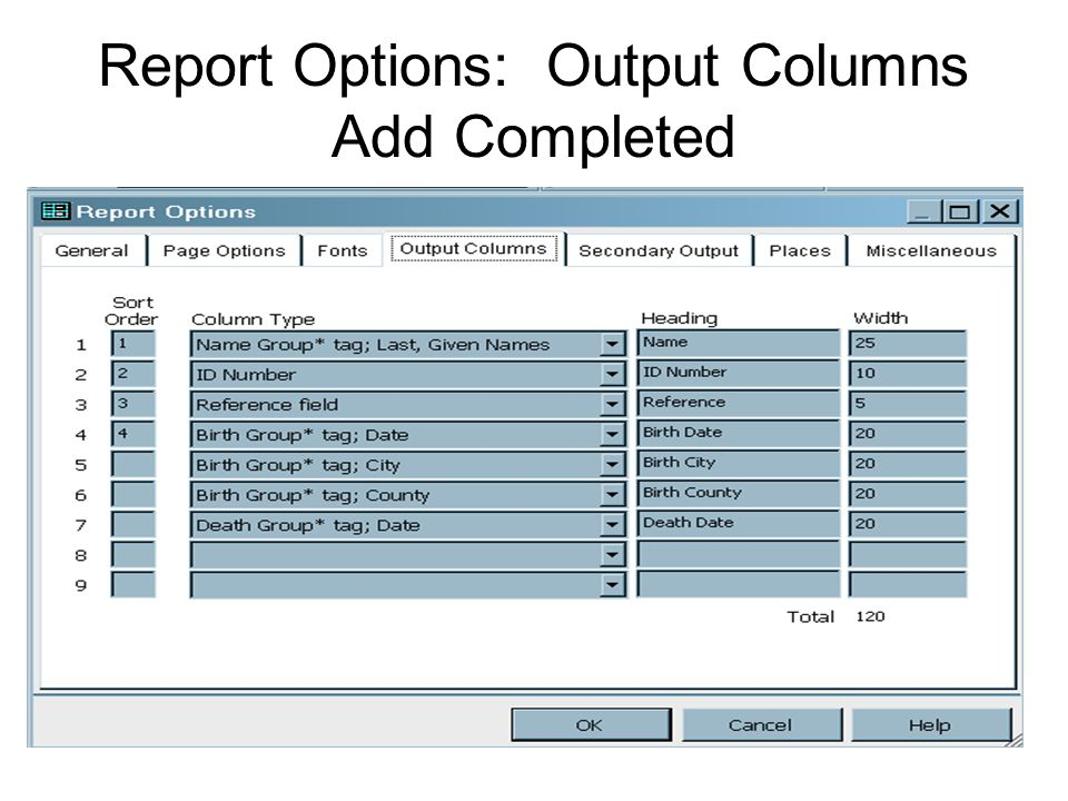 Report Options: Output Columns Add Completed