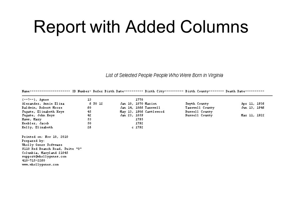 Report with Added Columns