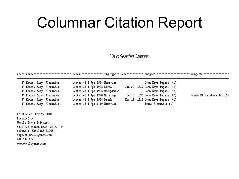 Columnar Citation Report