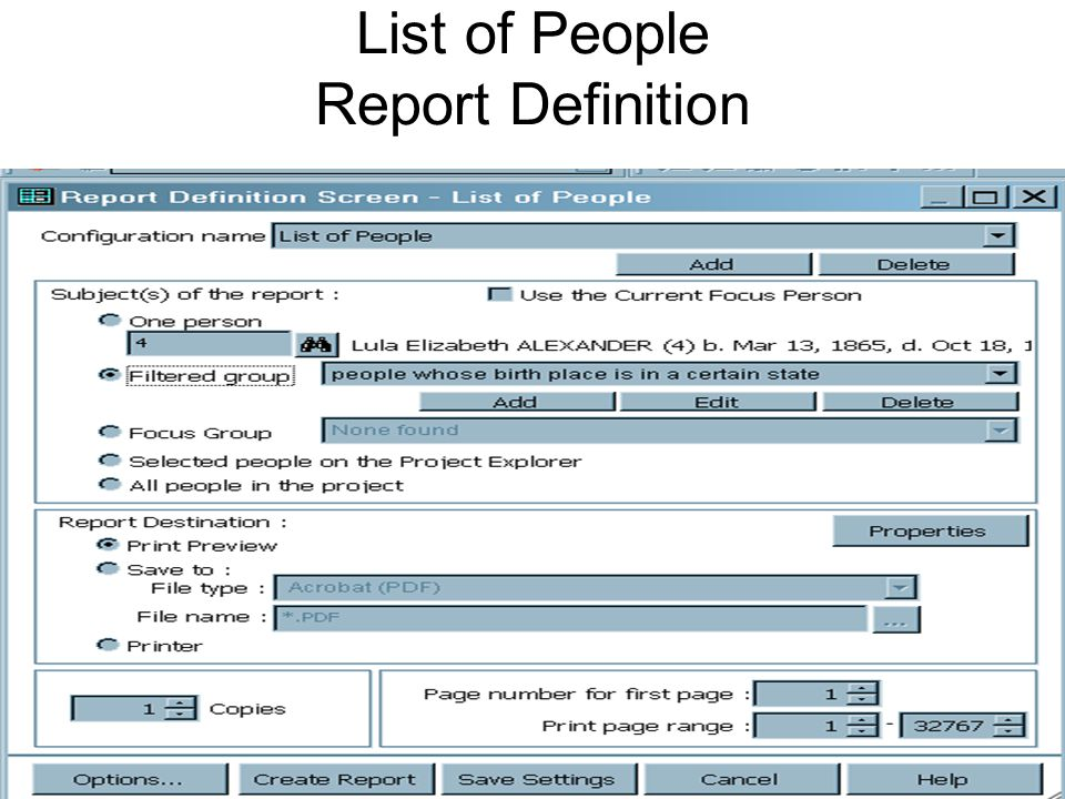 View, Save, and/or Print List of … Reports View reports to determine if filter, content, or output need to be redefined or modified.