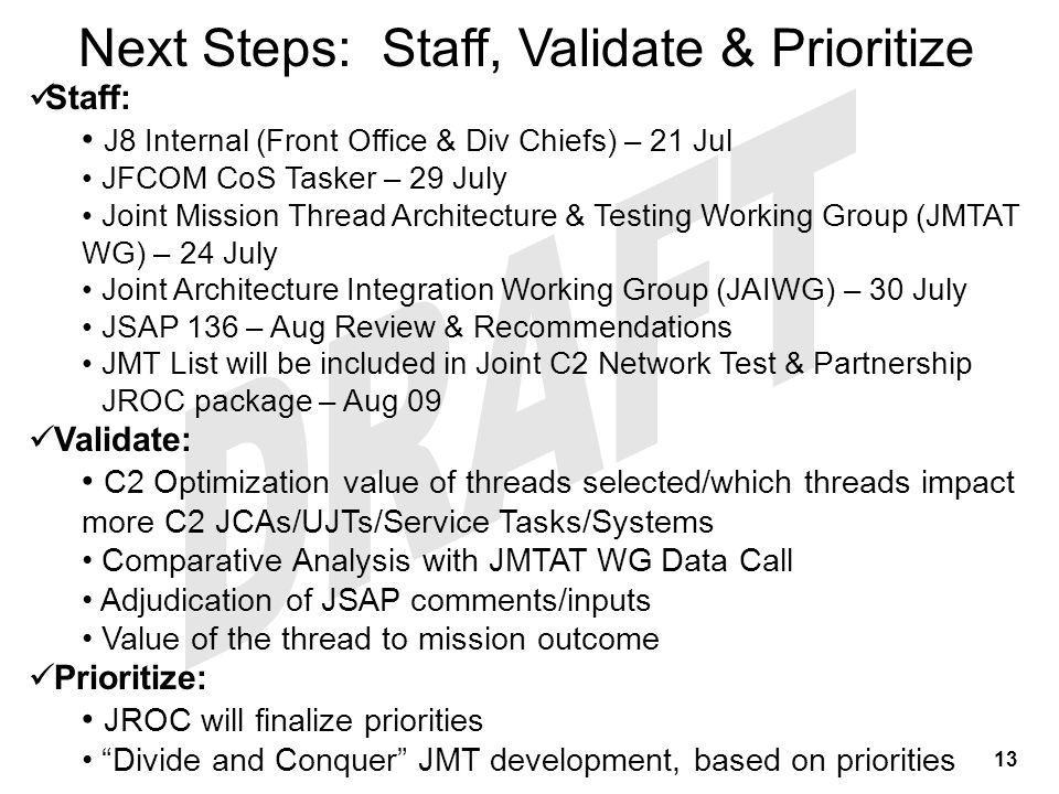 Staff: J8 Internal (Front Office & Div Chiefs) – 21 Jul JFCOM CoS Tasker – 29 July Joint Mission Thread Architecture & Testing Working Group (JMTAT WG