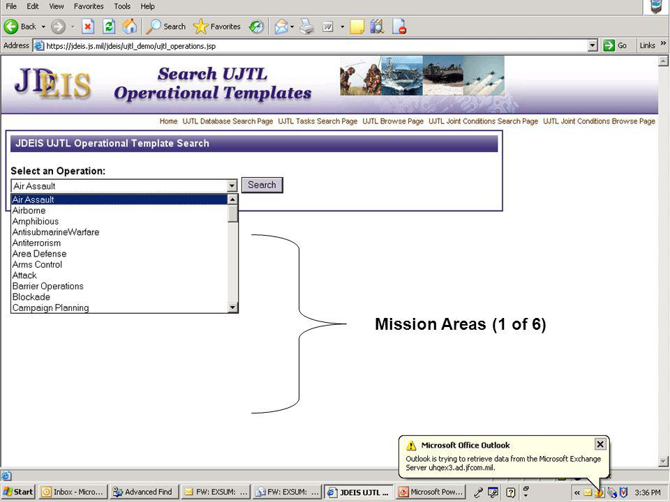 Mission Areas (1 of 6)