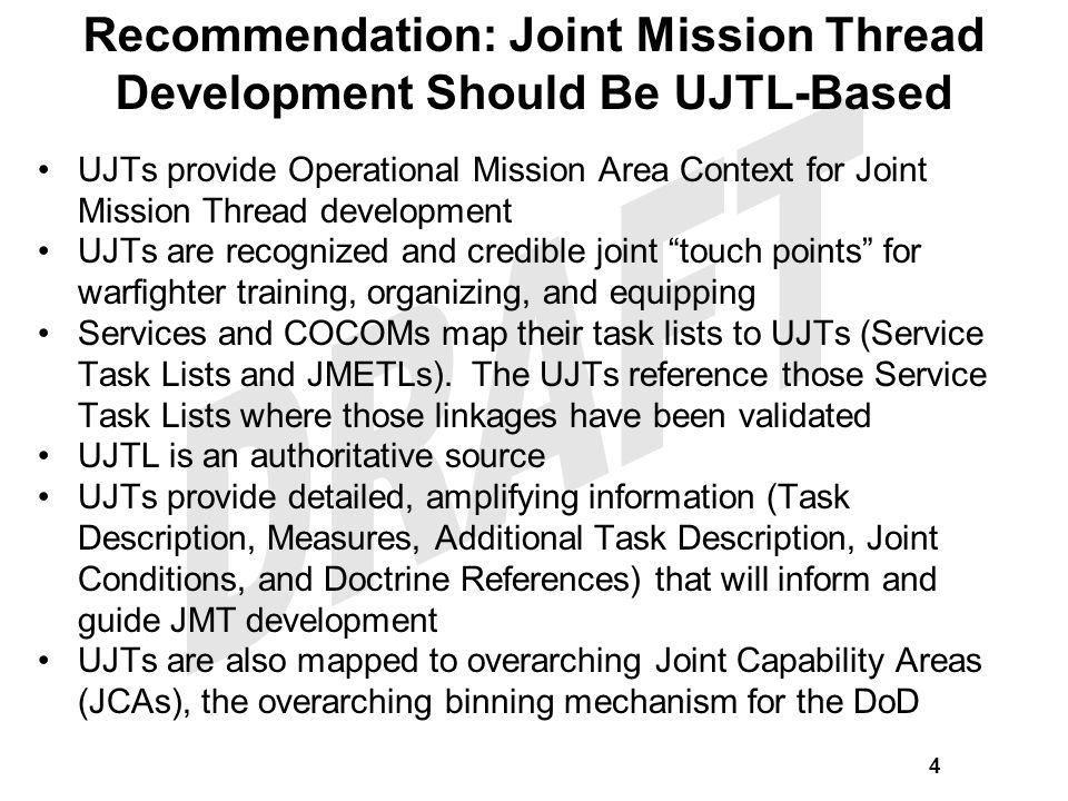 UJTL-Based Joint Mission Thread Guidelines Joint Mission Threads (JMTs) should be primarily based on Operational (OP) and Tactical (TA) level Universal Joint Tasks (UJTs).