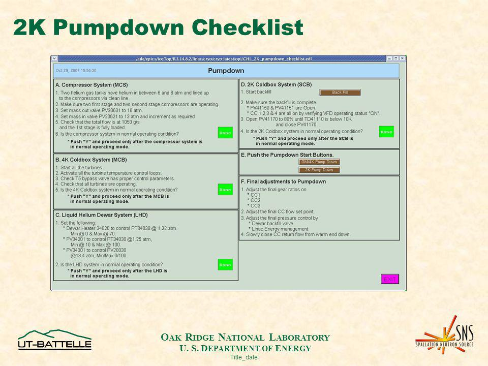 O AK R IDGE N ATIONAL L ABORATORY U. S. D EPARTMENT OF E NERGY Title_date 2K Pumpdown Checklist