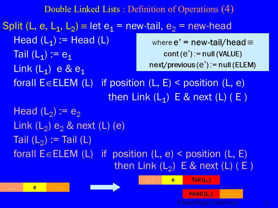 © Egon Börger: Linked List 8 Double Linked Lists : Definition of Operations (4) Split (L, e, L 1, L 2 ) let e 1 = new-tail, e 2 = new-head in Head (L 1 ) := Head (L) Tail (L 1 ) := e 1 Link (L 1 ) e & e 1 forall E ELEM (L) if position (L, E) < position (L, e) then Link (L 1 ) E & next (L) ( E ) Head (L 2 ) := e 2 Link (L 2 ) e 2 & next (L) (e) Tail (L 2 ) := Tail (L) forall E ELEM (L) if position (L, e) < position (L, E) then Link (L 2 ) E & next (L) ( E ) where e = new-tail/head cont ( e ) := null (VALUE) next/previous ( e ) := null (ELEM)...