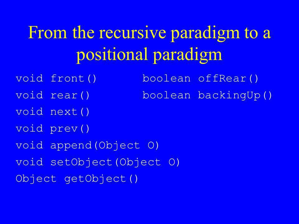 From the recursive paradigm to a positional paradigm void front() void rear() void next() void prev() void append(Object O) void setObject(Object O) O