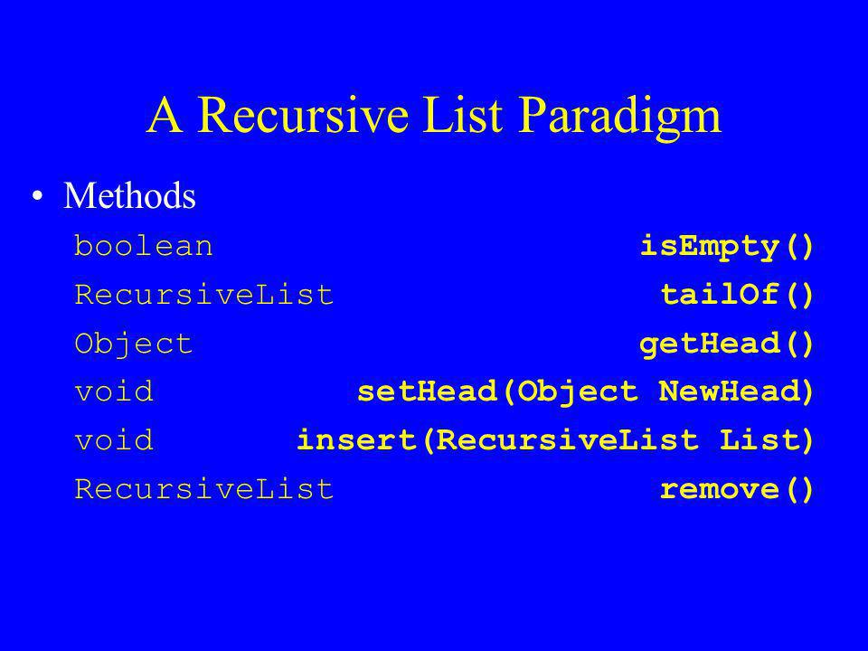 A Recursive List Paradigm Methods boolean isEmpty() RecursiveList tailOf() Object getHead() void setHead(Object NewHead) void insert(RecursiveList List) RecursiveList remove()