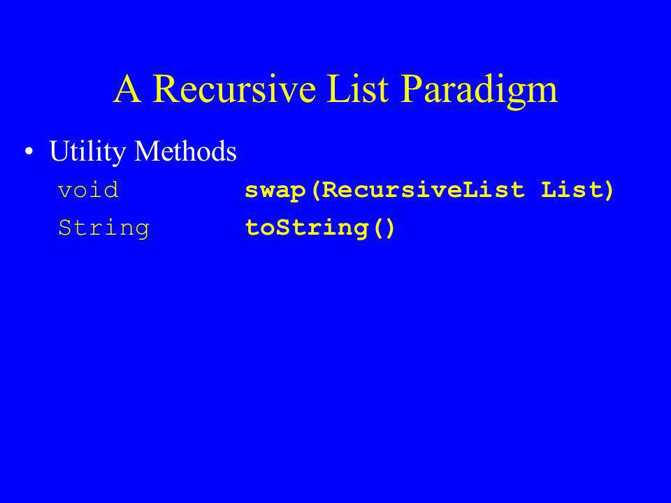 A Recursive List Paradigm What about iterator support –Recursion is the traversal method