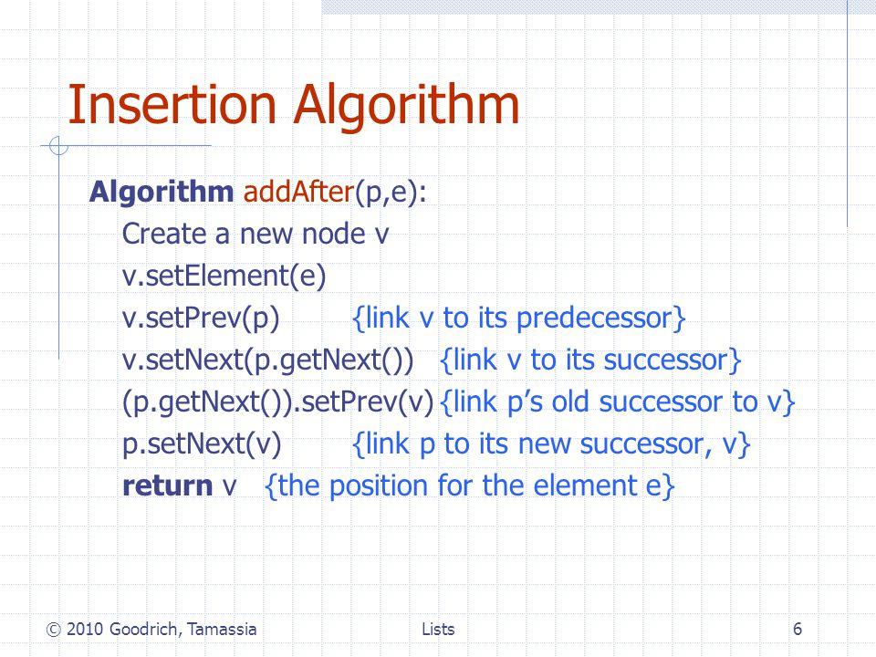 Lists7 Deletion We visualize remove(p), where p = last() ABCD p ABC D p ABC © 2010 Goodrich, Tamassia