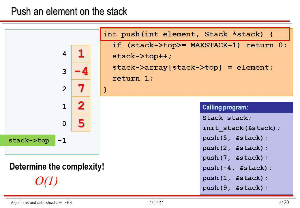 Algorithms and data structures, FER7 / 20 7.6.2014 Pop an element from the stack int pop (int *element, Stack *stack) { if (stack->top < 0) return 0; *element = stack->array[stack->top]; stack->top--; return 1; } Calling program: pop(&element, &stack); Determine the complexity.