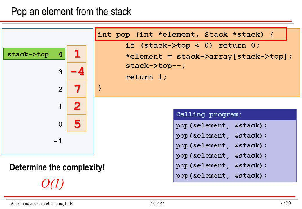 Algorithms and data structures, FER18 / 20 7.6.2014 int pop (type *element, Stack *stack) { atom *aux; if (stack->top == NULL) return 0; *element = stack->top->element; aux = stack->top->next; /* address of the new top */ free (stack->top); /* release the old top */ stack->top = aux; /* set the new top */ return 1; } Calling program: pop (&element, &stack); stack->top 5 aux Stack – list implementation (pop element) - II