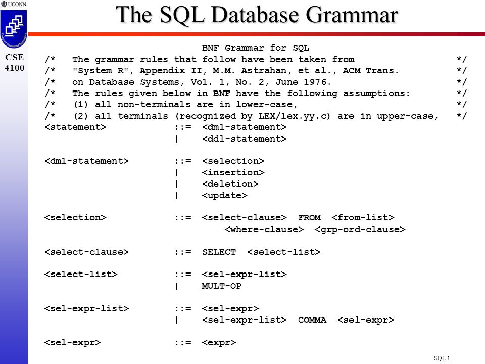 SQL.1 CSE 4100 The SQL Database Grammar BNF Grammar for SQL /* The grammar rules that follow have been taken from */ /* System R , Appendix II, M.M.