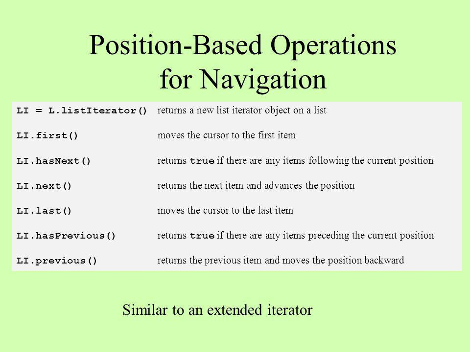 LI.insert(newItem) inserts newItem at the current position LI.remove() removes the last item returned by next or previous LI.replace(newItem) replaces the last item returned by next or previous Position-Based Operations for Mutation