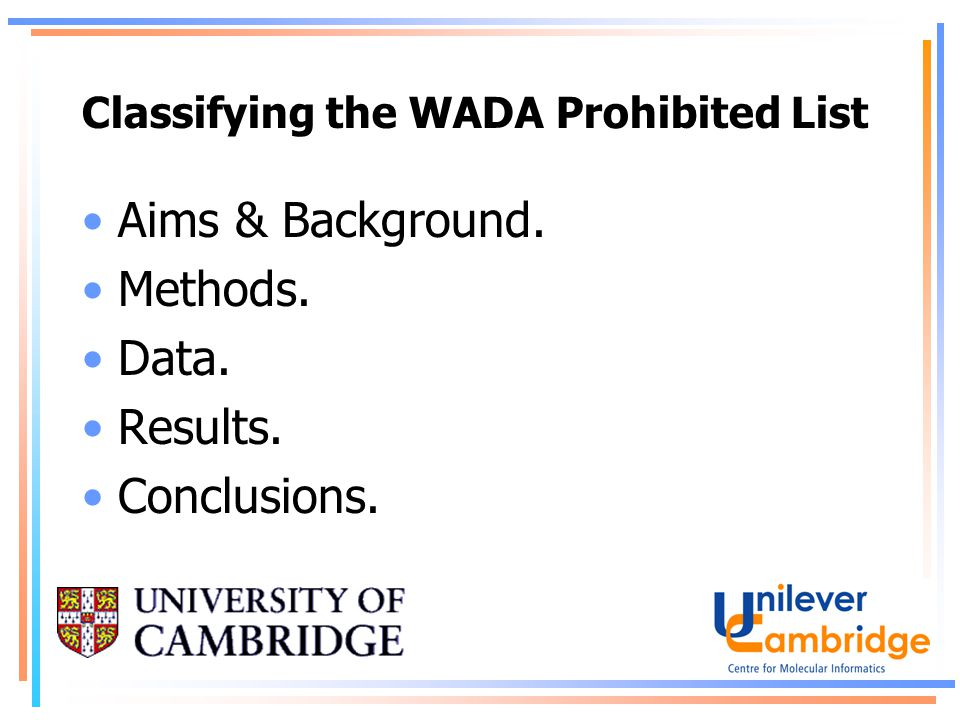 Classifying the WADA Prohibited List Aims & Background. Methods. Data. Results. Conclusions.