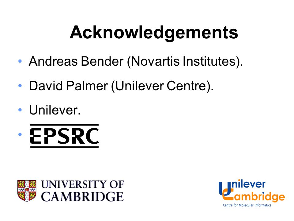 Acknowledgements Andreas Bender (Novartis Institutes). David Palmer (Unilever Centre). Unilever.