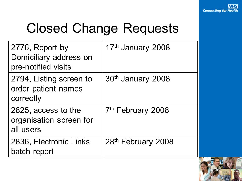 Closed Change Requests 2776, Report by Domiciliary address on pre-notified visits 17 th January , Listing screen to order patient names correctly 30 th January , access to the organisation screen for all users 7 th February , Electronic Links batch report 28 th February 2008