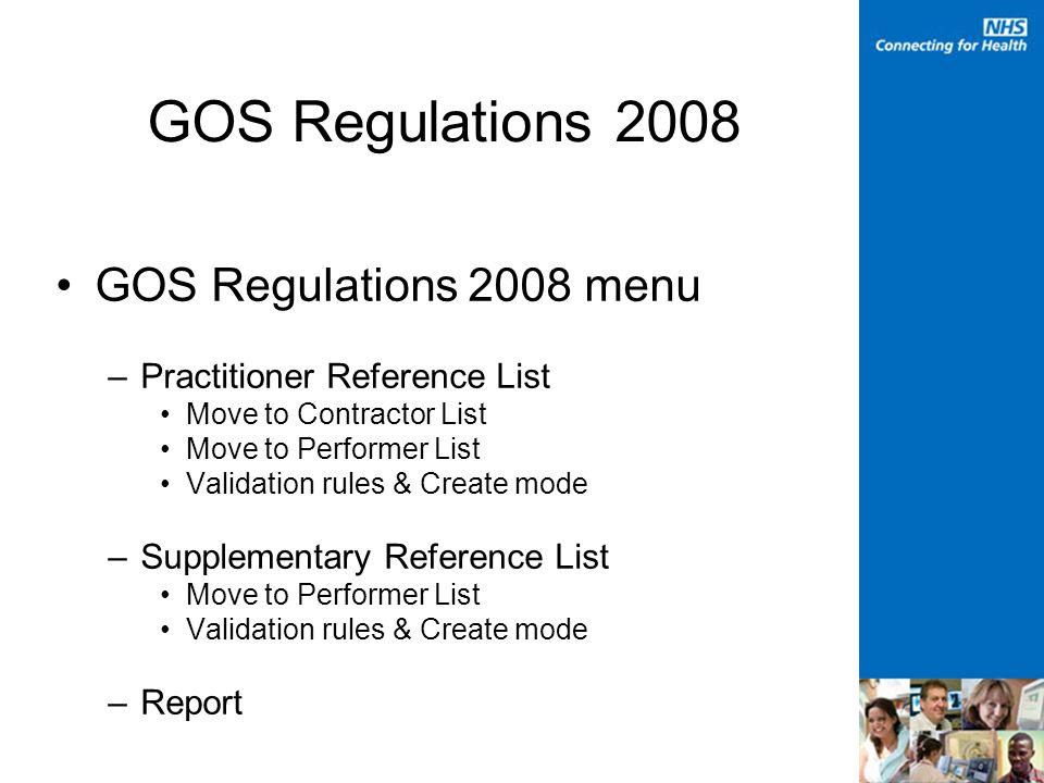 GOS Regulations 2008
