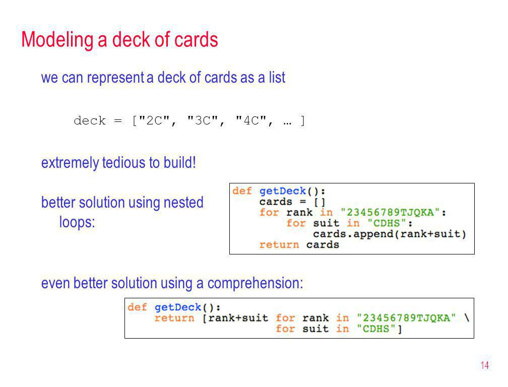 Modeling a deck of cards we can represent a deck of cards as a list deck = [ 2C , 3C , 4C , … ] extremely tedious to build.
