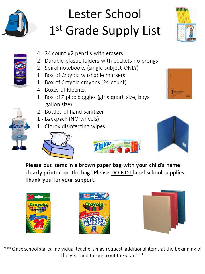Lester School 1 st Grade Supply List 4 - 24 count #2 pencils with erasers 2 - Durable plastic folders with pockets no prongs 2 - Spiral notebooks (sin