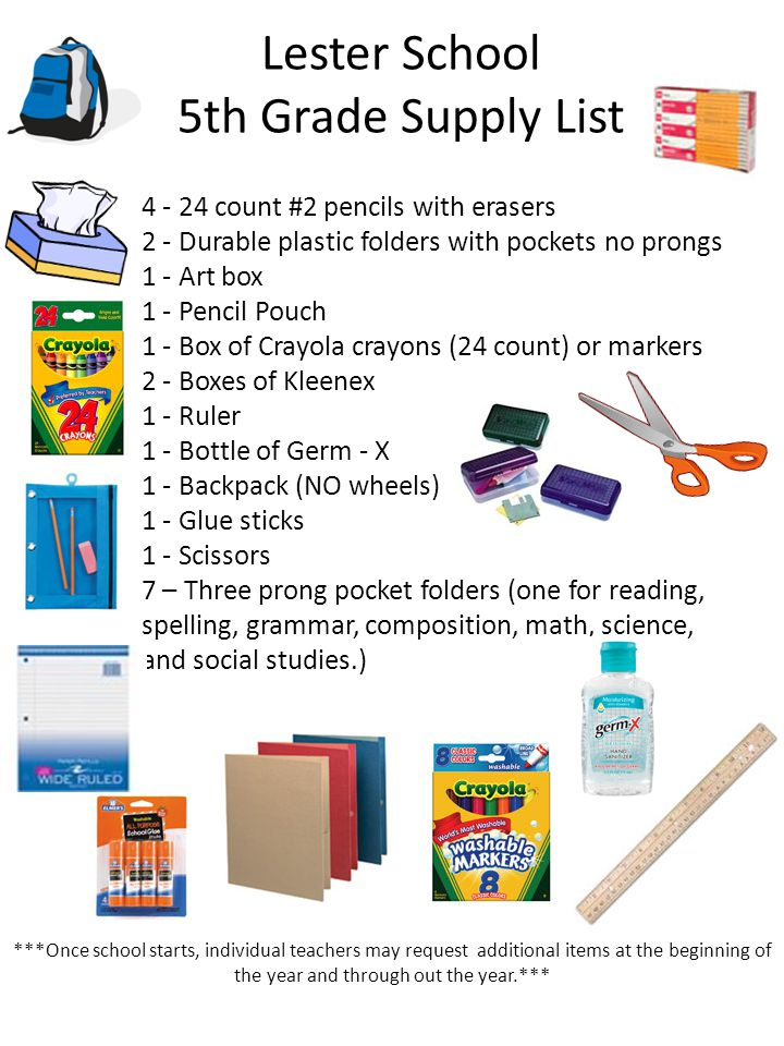 Lester School 5th Grade Supply List 4 - 24 count #2 pencils with erasers 2 - Durable plastic folders with pockets no prongs 1 - Art box 1 - Pencil Pou