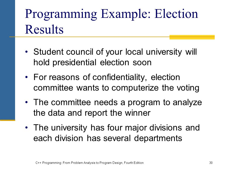 C++ Programming: From Problem Analysis to Program Design, Fourth Edition30 Programming Example: Election Results Student council of your local univers