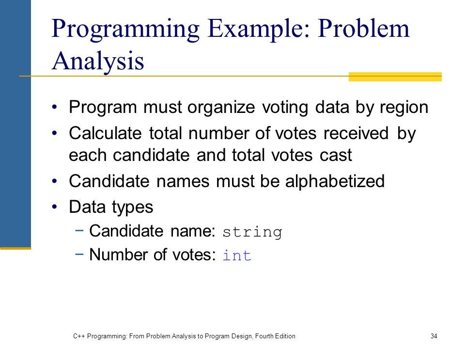 C++ Programming: From Problem Analysis to Program Design, Fourth Edition34 Programming Example: Problem Analysis Program must organize voting data by