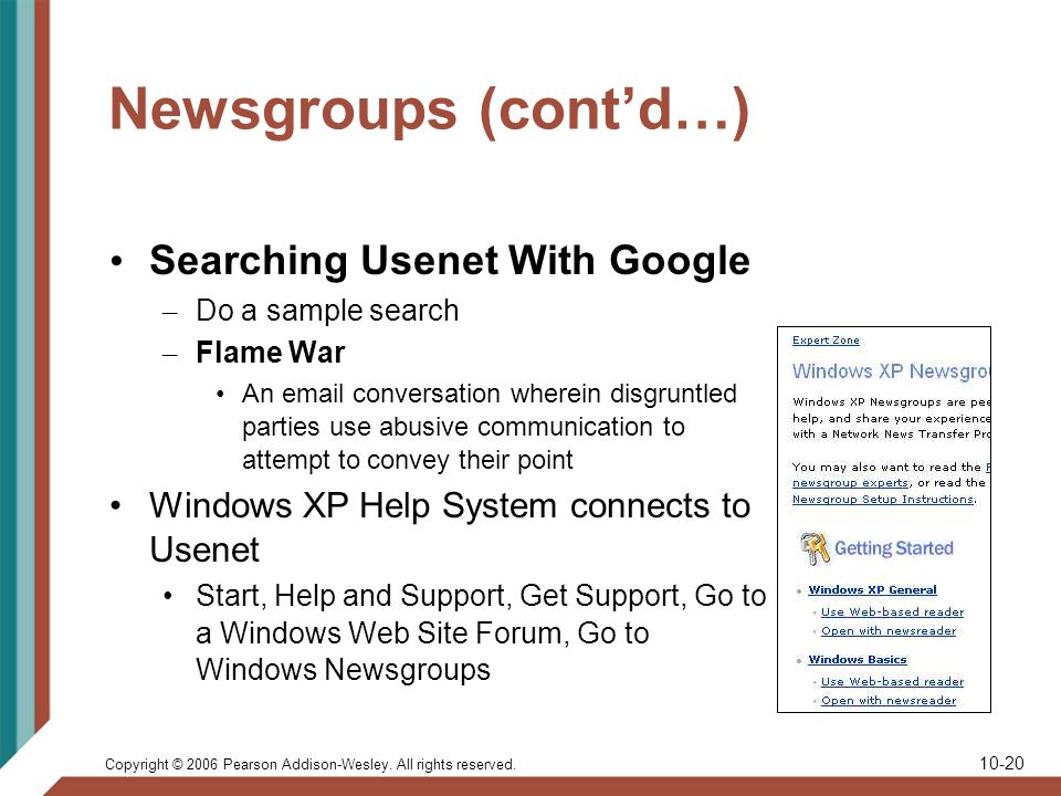 Copyright © 2006 Pearson Addison-Wesley. All rights reserved. 10-20 Newsgroups (contd…) Searching Usenet With Google – Do a sample search – Flame War