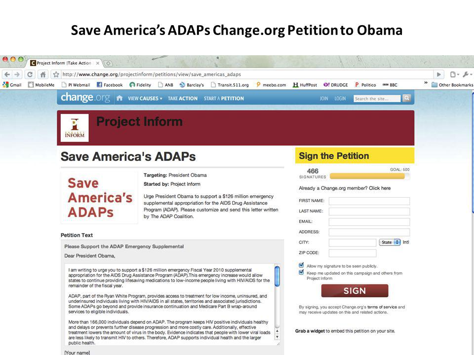 Save Americas ADAPs Change.org Petition to Obama