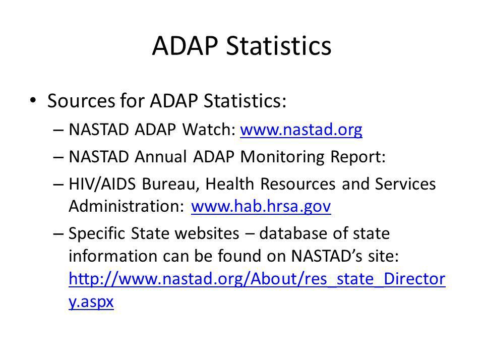 ADAP Statistics Sources for ADAP Statistics: – NASTAD ADAP Watch: www.nastad.orgwww.nastad.org – NASTAD Annual ADAP Monitoring Report: – HIV/AIDS Bure