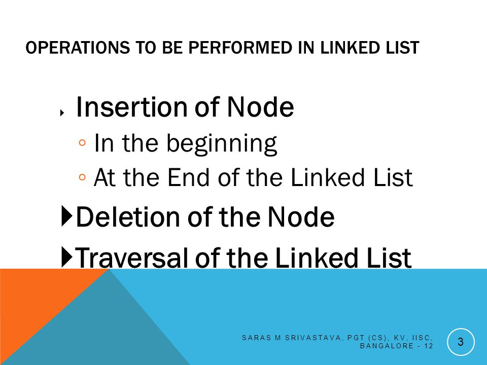 OPERATIONS TO BE PERFORMED IN LINKED LIST Insertion of Node In the beginning At the End of the Linked List Deletion of the Node Traversal of the Linked List SARAS M SRIVASTAVA, PGT (CS), KV, IISC, BANGALORE - 12 3