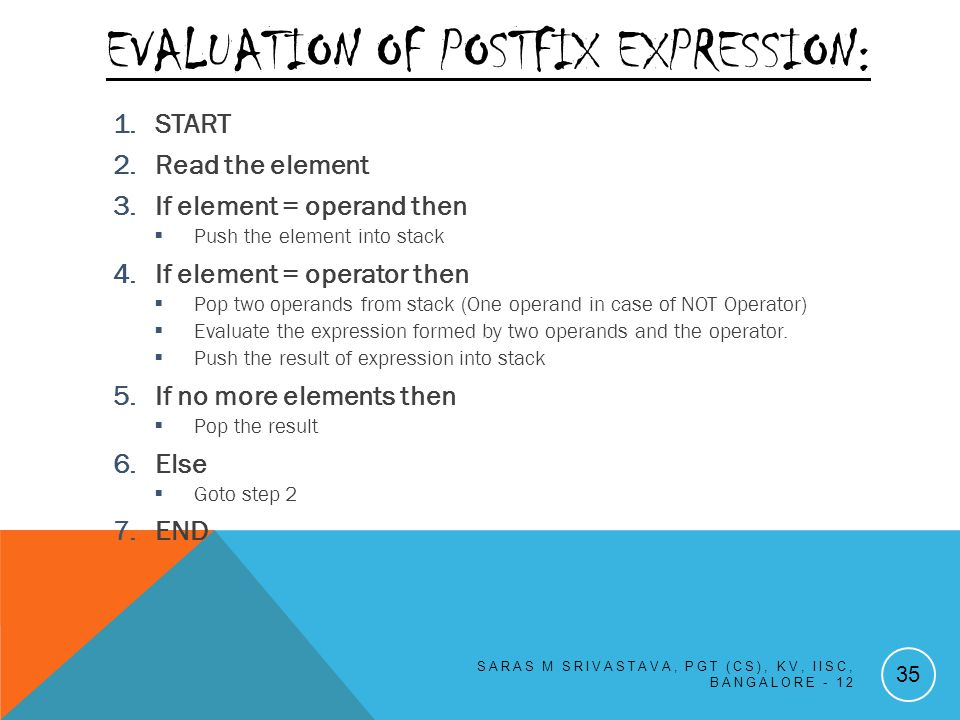 EVALUATION OF POSTFIX EXPRESSION: 1.START 2.Read the element 3.If element = operand then Push the element into stack 4.If element = operator then Pop two operands from stack (One operand in case of NOT Operator) Evaluate the expression formed by two operands and the operator.