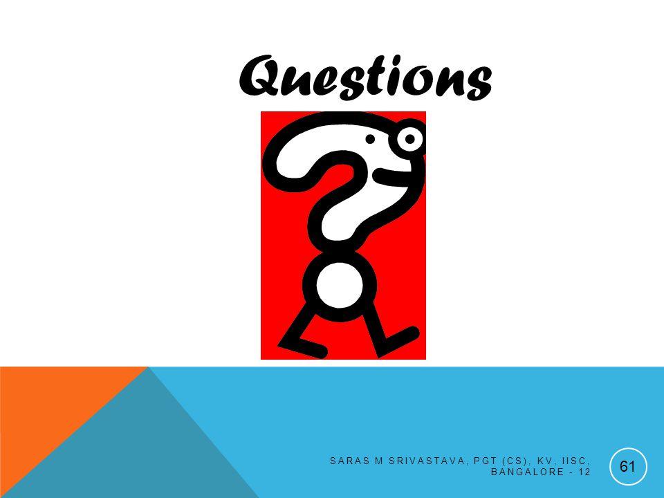 SARAS M SRIVASTAVA, PGT (CS), KV, IISC, BANGALORE - 12 61 Questions