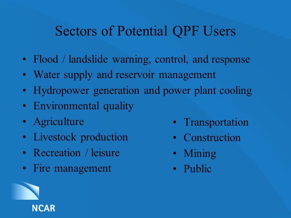 List of Nominations Sectors of Potential QPF Users Flood / landslide warning, control, and response Water supply and reservoir management Hydropower g