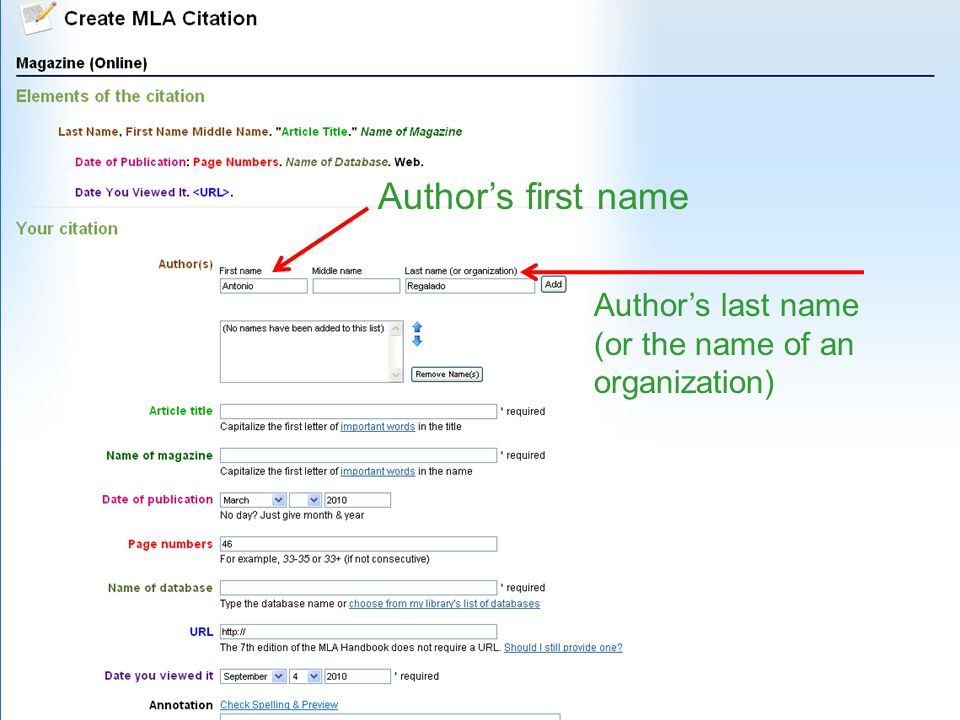 Authors first name Authors last name (or the name of an organization)