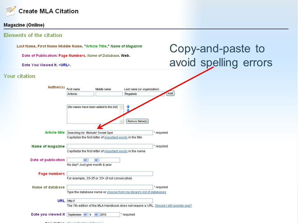 Copy-and-paste to avoid spelling errors
