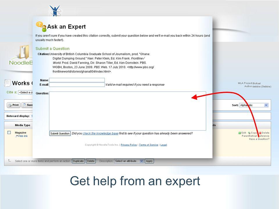Get help from an expert