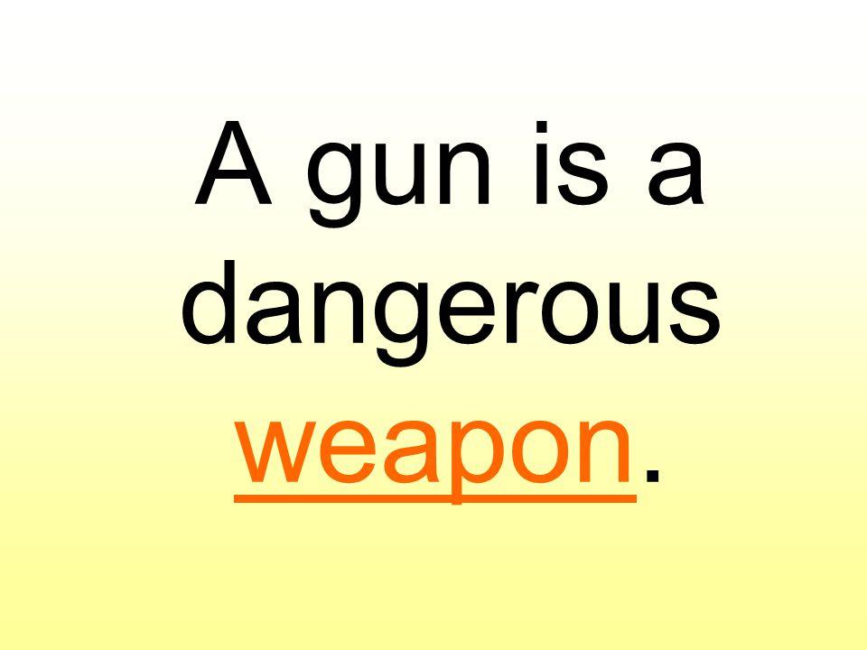 A gun is a dangerous weapon.