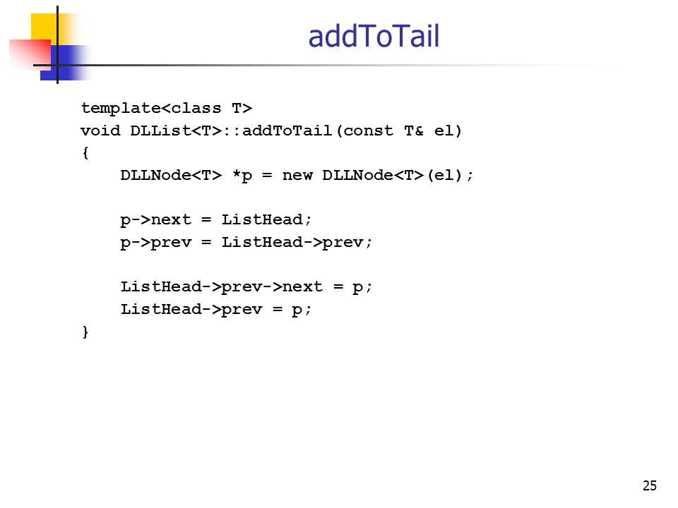 25 addToTail template void DLList ::addToTail(const T& el) { DLLNode *p = new DLLNode (el); p->next = ListHead; p->prev = ListHead->prev; ListHead->prev->next = p; ListHead->prev = p; }