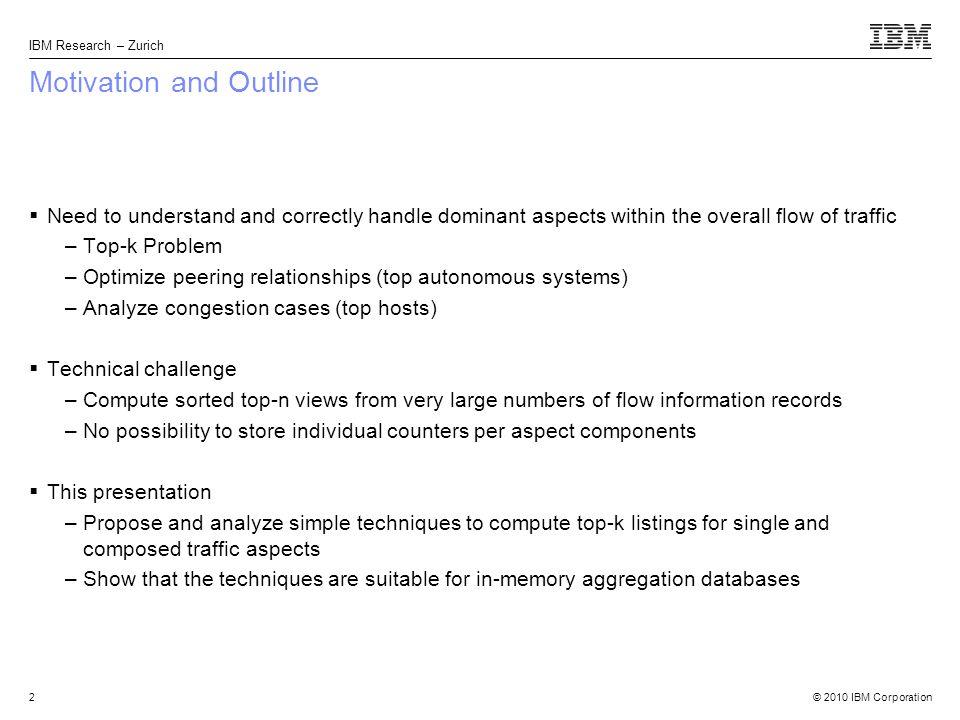 © 2010 IBM Corporation AURORA http://www.zurich.ibm.com/aurora/ Questions?