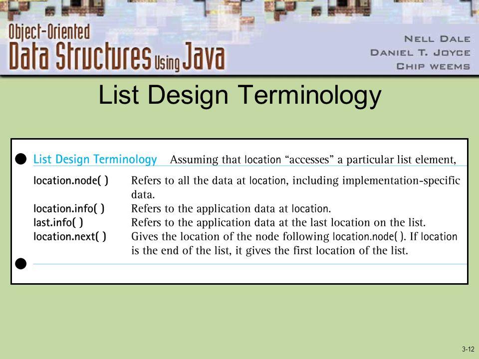 3-12 List Design Terminology