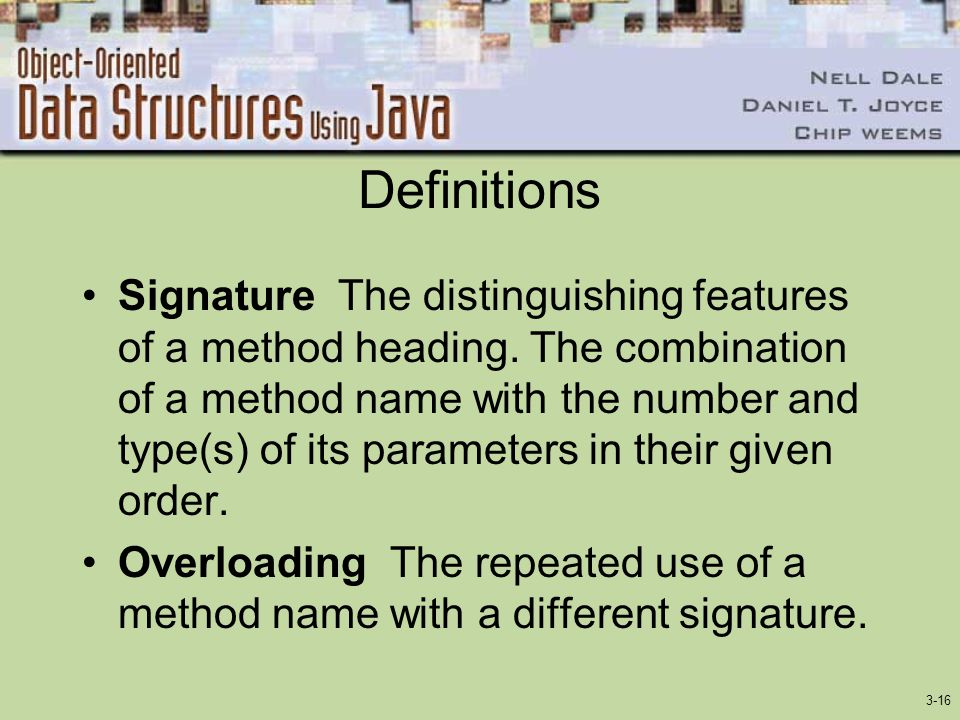 3-16 Definitions Signature The distinguishing features of a method heading.