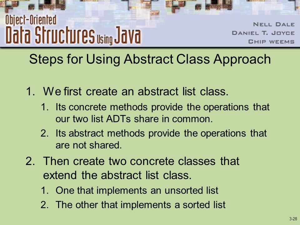 3-28 Steps for Using Abstract Class Approach 1.We first create an abstract list class.