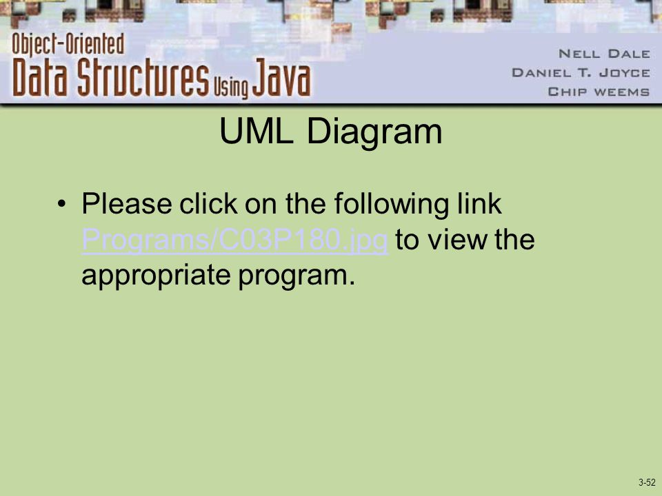 3-52 UML Diagram Please click on the following link Programs/C03P180.jpg to view the appropriate program. Programs/C03P180.jpg