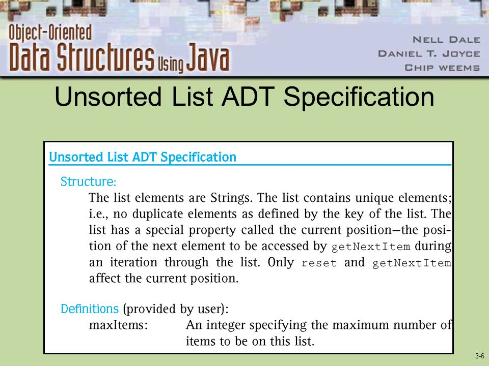 3-6 Unsorted List ADT Specification