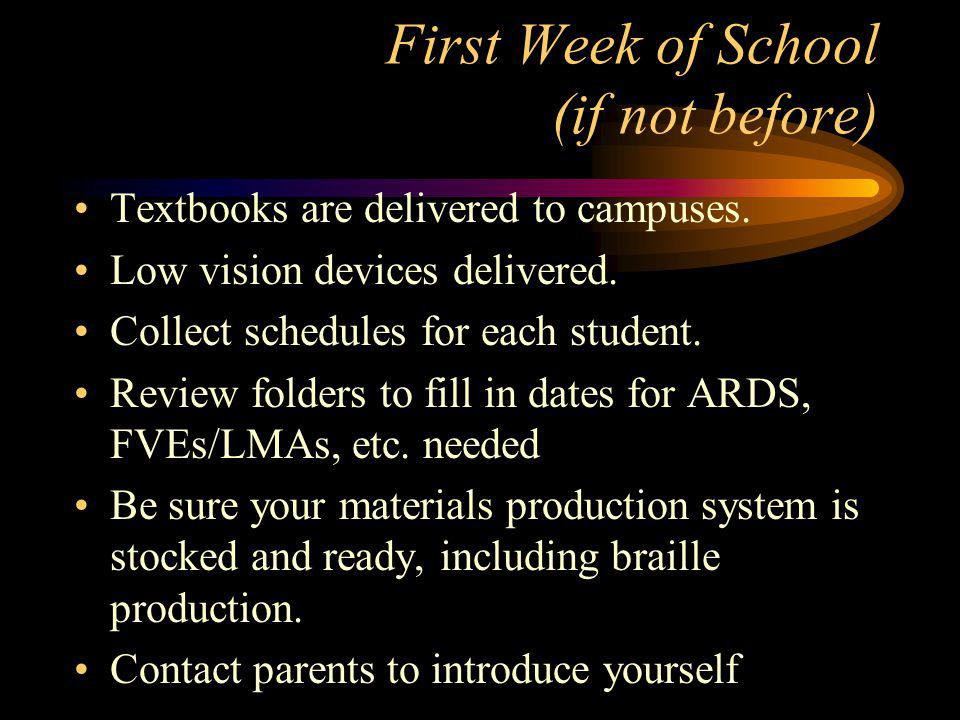 As Soon as Possible in August Meet with each Principal, Educational Diagnostician, and teacher to introduce yourself.