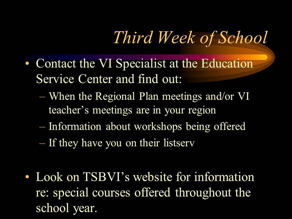 Second Week of School Begin direct services and consultation.