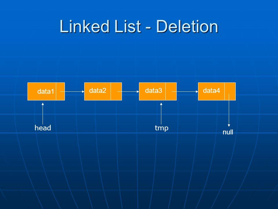 Linked List - Deletion data1 data2data3data4 null tmp head