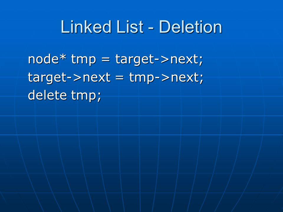 Linked List - Deletion node* tmp = target->next; target->next = tmp->next; delete tmp;