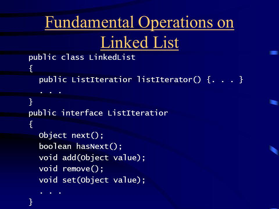 Fundamental Operations on Linked List public class LinkedList { public ListIteratior listIterator() {...