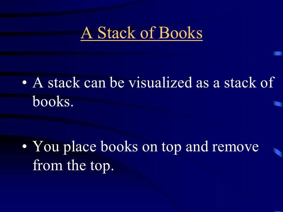 A Stack of Books A stack can be visualized as a stack of books.